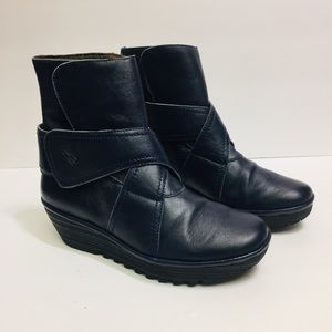 Fly London Wedge Navy Blue Boots. Size 41